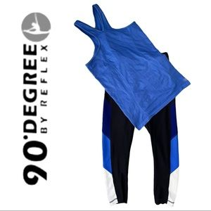 90 Degrees by Reflex Black Leggings with Blue Tank